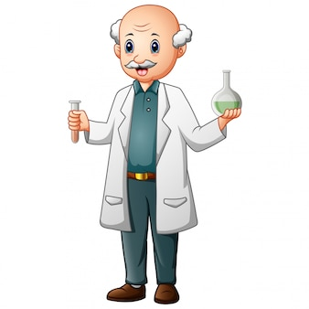 Funny old chemist holding test tubes and flasks