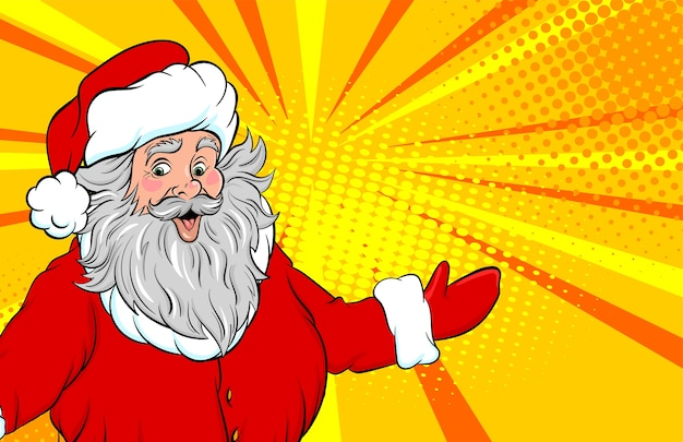 Funny old santa show place for text pop art style
