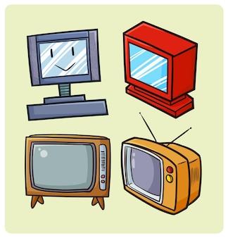 シンプルな落書きスタイルの面白い古いテレビコレクション