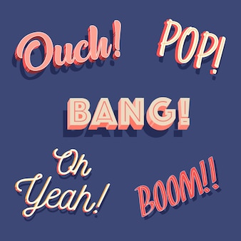 Funny onomatopoeia and expressions lettering