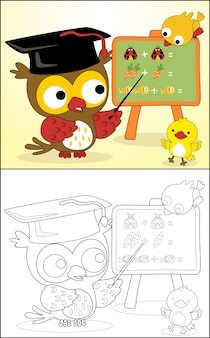 Funny owl cartoon with little friends