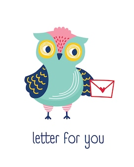 Funny owl holding envelope and phrase letter for you