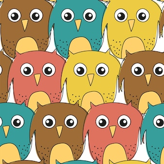 Funny owls hand-drawn seamless pattern. great for children book, wallpaper, fabric, card, packaging design.