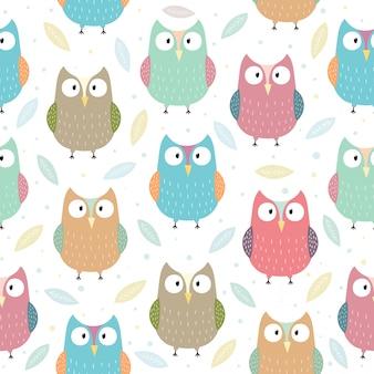 Funny owls seamless pattern illustration