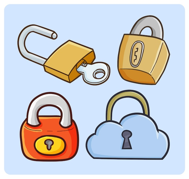 Funny padlock collection in simple doodle style