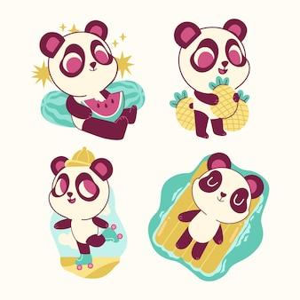 재미있는 팬더 곰 스티커 컬렉션