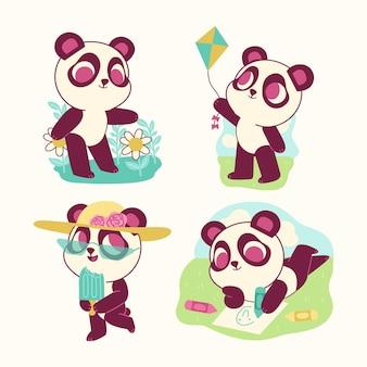 Коллекция наклеек смешной медведь панда