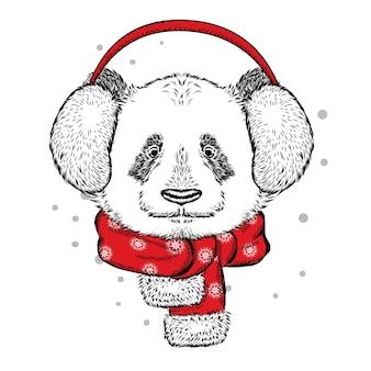 Смешная панда в зимних наушниках.