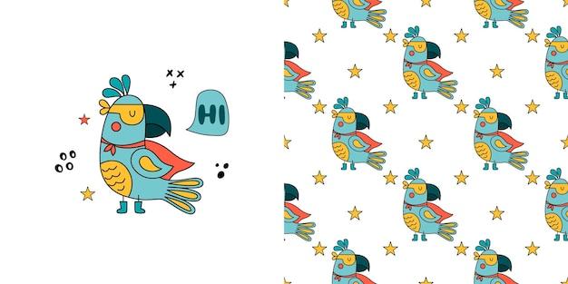 Funny parrot in superhero costume illustration seamless pattern.