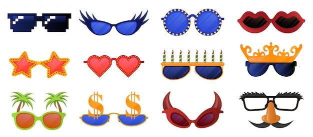 面白いパーティーグラス。カーニバル、仮面舞踏会のサングラス、写真ブースパーティー装飾的なメガネイラストアイコンセット。仮面舞踏会メガネコレクション、面白い口ひげとマスク