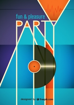 Funny party poster with a vinyl record