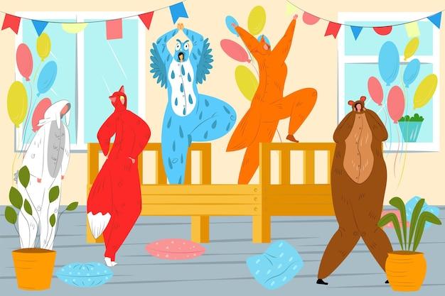 동물 kigurumi 벡터 일러스트와 함께 재미있는 파티 젊은 남자 여자 캐릭터는 잠옷 공동에서 재미를 ...