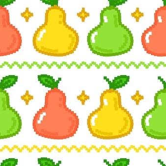 面白い梨の果実のピクセルアートのシームレスなパターン。ベクトル落書き漫画グラフィックイラストデザイン。新鮮な梨の果実のピクセルアート、8ビット、16ビットスタイルの印刷シームレスパターンの概念