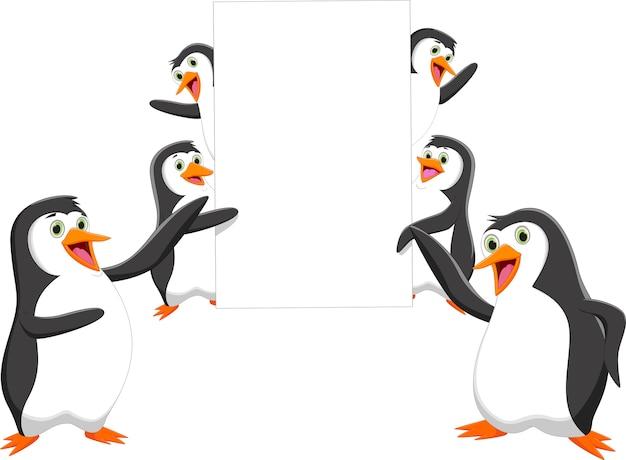 空のサインと面白いペンギンの漫画
