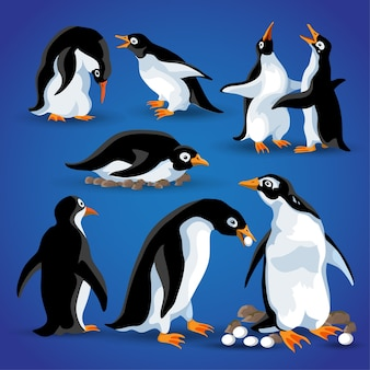 さまざまなアクションポーズの面白いペンギン。漫画のマスコットは、ペンギンの動物の鳥のキャラクターを分離します。