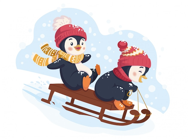 Веселые пингвины катаются на санях. катание на санках зимой