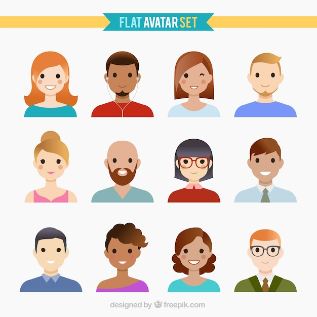 Man and woman avatars vector | free download.