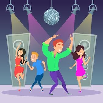 Funny people dancing on dance floor