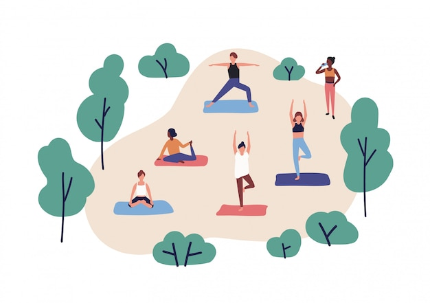 Funny people practicing yoga in park. group of cute men and women performing gymnastic exercise outdoor. aerobics training, fitness or sports activity. flat cartoon colorful illustration.