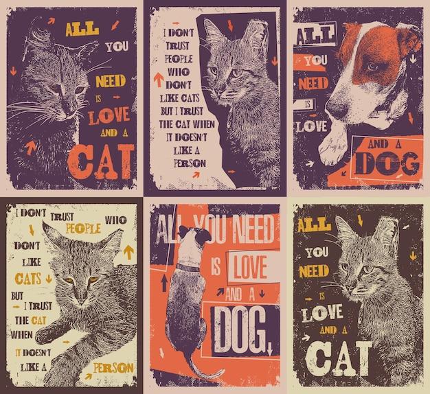 面白いペット愛好家のタイポグラフィポスター