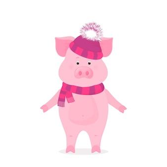 Забавный поросенок в шапке с пушистым помпоном и полосатым шарфом. милый поросенок в зимней шапочке.