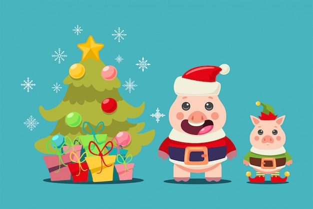 Funny pig in santa claus and elf costumes near the christmas tree with gifts