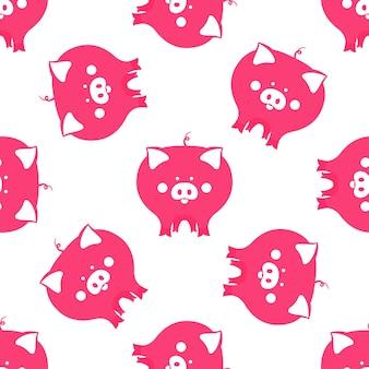 2019 중국 새 해 완벽 한 패턴의 재미 있는 돼지 상징.