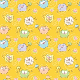 Funny pig and watermelon seamless pattern background