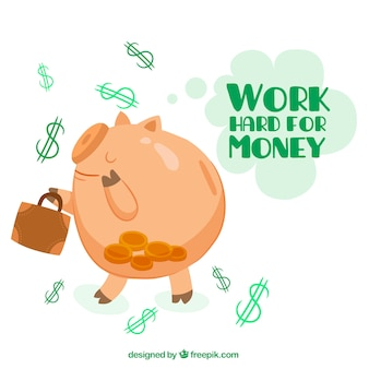Funny piggy bank background with inspiring message