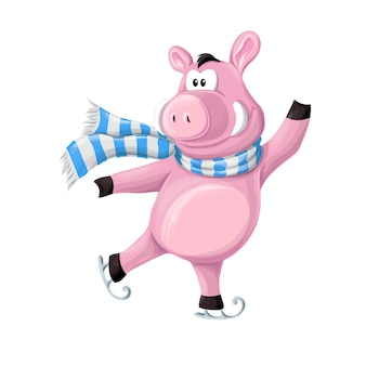 The funny piggy, piglet in winter s clothes on skates
