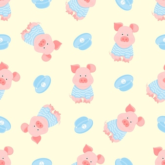 A funny piggy in a sailor's striped t-shirt and captain's visor seamless pattern.