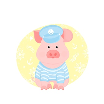 A funny piggy in a sailor's striped t-shirt and captain's visor.