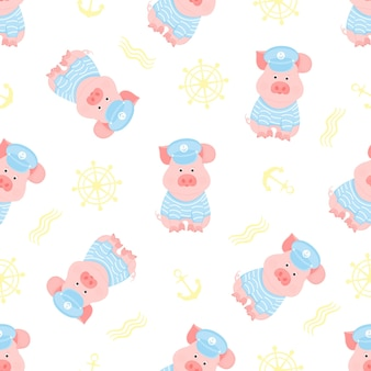 A funny piggy in a sailor sweater and captain visor seamless pattern