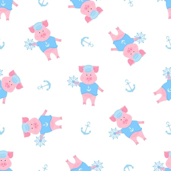 A funny piggy in a sailor t-shirt and captain hat. seamless pattern for nursery, textile, kids apparel.