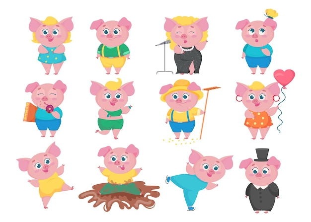 Funny pigs cartoon characters set. flat collection of little cute animals in various situations, singing, eating, dancing, having fun. happy piglet concept.