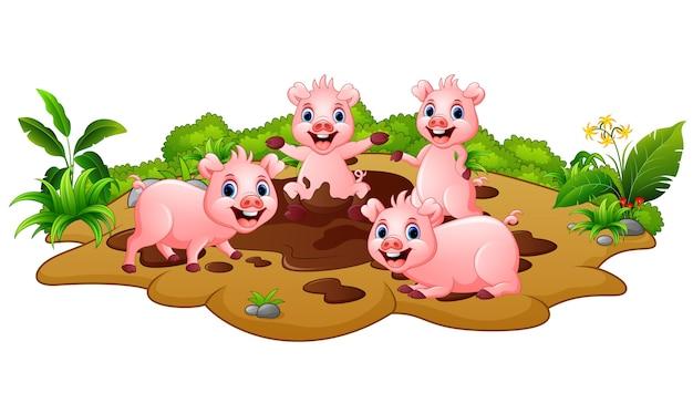 Смешные свиньи, играющие в грязи