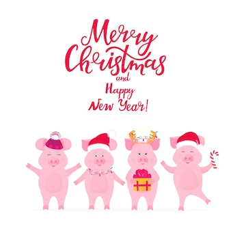Funny pigs in santa's hats with a gift. piggy with deer horns. merry christmas and happy new year greeting card with handwritten inscription.