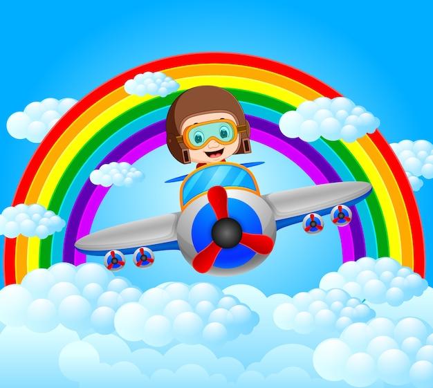 Смешной пилот верхом с радужными пейзажами