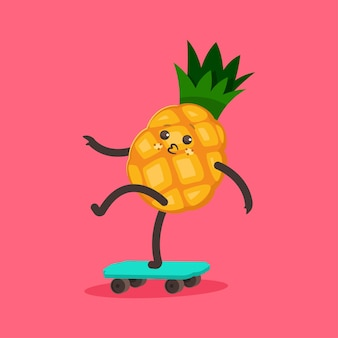 스케이트 보드에 재미있는 파인애플. 만화 귀여운 과일 캐릭터입니다.