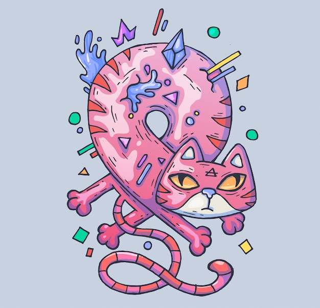 Funny pink cat twisted into a loop. cartoon illustration