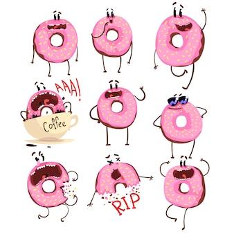 Забавный розовый пончик мультипликационный набор символов, милый пончик с разными эмоциями иллюстрации на белом фоне