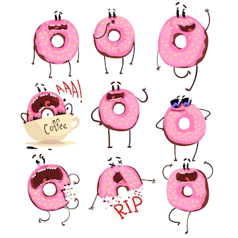 Funny pink donut cartoon character set, cute doughnut with different emotions  illustrations on a white background