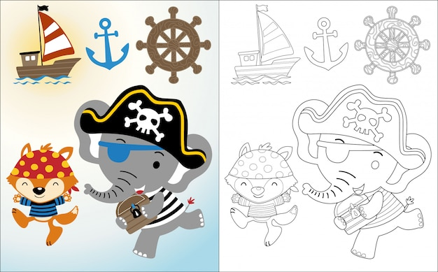 Funny pirate cartoon with sailing equipment