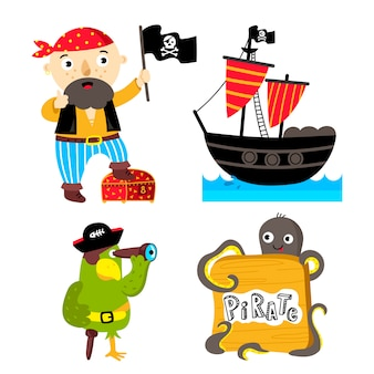 Funny pirate elements isolated