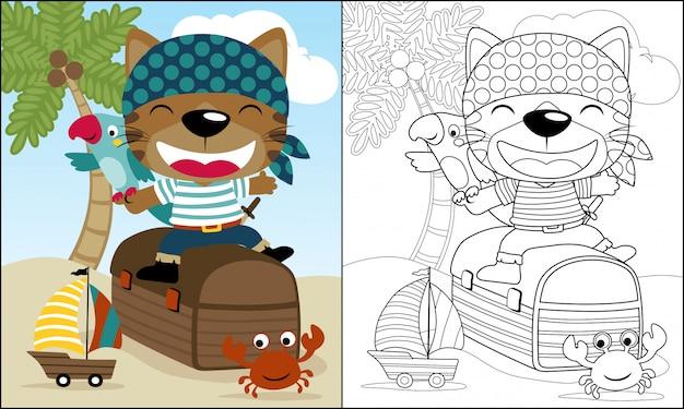 Забавный мультфильм пиратов сидит на сундуке с сокровищами
