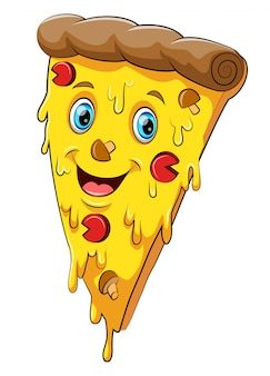 Funny pizza cartoon character