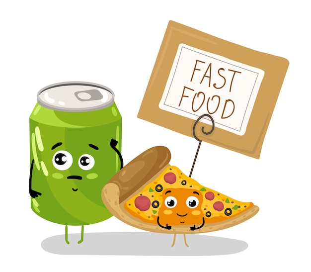 Funny pizza slice and soda can cartoon character