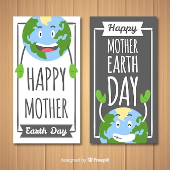 Funny planet mother earth day banner