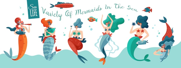 Funny playful sexy mermaids in sea waves with underwater world creatures horizontal ocean life banner