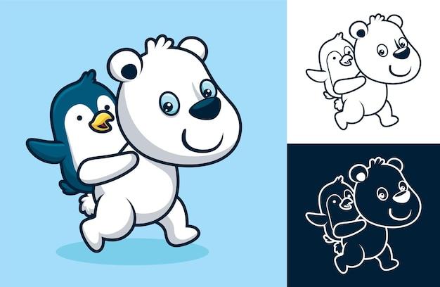 背中にペンギンを乗せた面白いホッキョクグマ。フラットアイコンスタイルの漫画イラスト